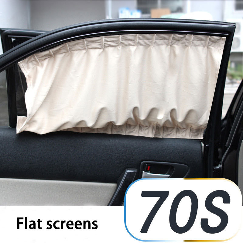 Black Beige Gray flat cartain 70S Car Auto Window Curtain Sunshade Sunshield Blinds Protection Side Window Curtains 74*39cm(China (Mainland))