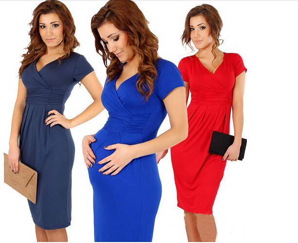 Fashion 2014 Elegant Celebrity V-neck Short Sleeve Knee-length Cotton Casual Bodycon Women Dresses - Hexin's store