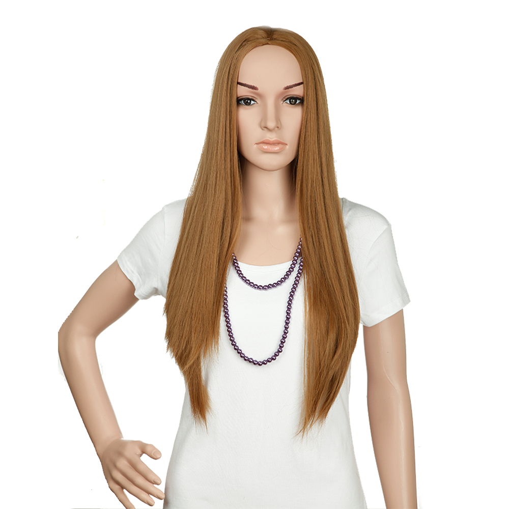 "25"" Half Wig no Bangs 3/4 Full Head Long Straight Hair Heat Resistant Synthetic Wigs Ombre Brown to Coffee(China (Mainland))"