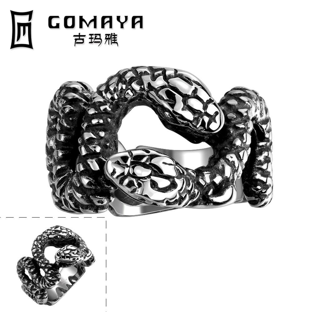 2016 Hot Sale Fashion Cool Personality Game Ancient Jewelry Stainless Punk Ring Python pattern Cosplay Men Rings(China (Mainland))