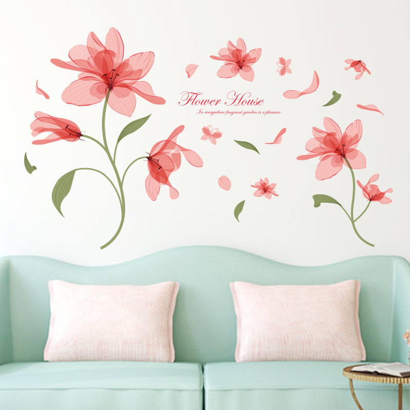 Pink Flower Ethereal Third Generation Removable Wall Stickers PVC Transparent Film Factory Outlets(China (Mainland))
