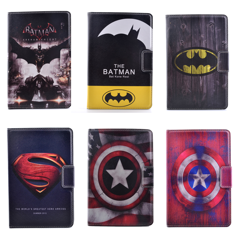 3D Cartoon Superman Batman Captain America Flip Stand PU Leather Tablet Protective Case For Ipad Mini 1/2/3 Retina +Stylus Pen(China (Mainland))