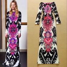 New 2015 Fashion Designer Vintage Long Dress women's Long sleeve Geometric Abstract Knitted Elastic Maxi Dress Formal Dress(China (Mainland))