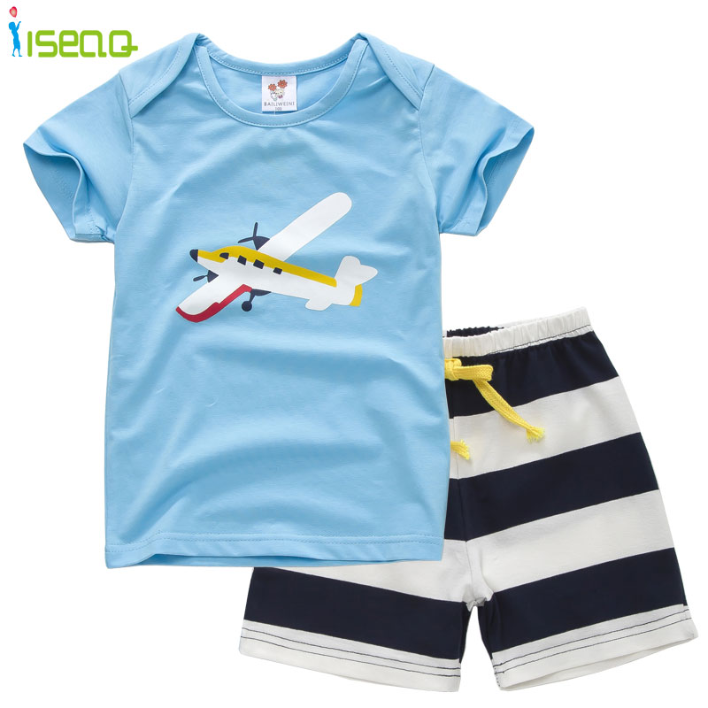 2016 Summer Boy Clothes Sets Cotton Cartoon Clothing Set Baby Boys Toddler Suits Kids Short Sleeve T-shirt+ Striped Short Pants(China (Mainland))