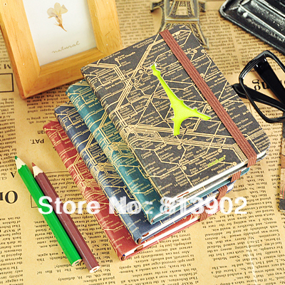 5pcs/lot  Stationery Eiffel tower vintage small hard carry a small tsmip notebook  composition book,diary fashion promotion gift