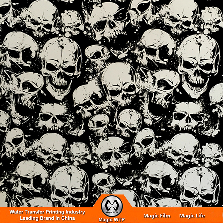 FREE SHIPPING Water Transfer Printing NO.D043 Hydrographic Film Width 0.5m Length 10m SCARE SKULL Water Transfer Printing Film(China (Mainland))