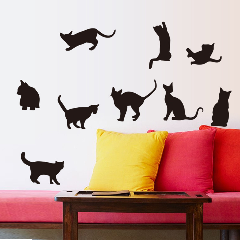 9 Black Fashion Wall Stickers Cat Animal Stickers Living Room Decor Tv Wall Decor Child Bedroom