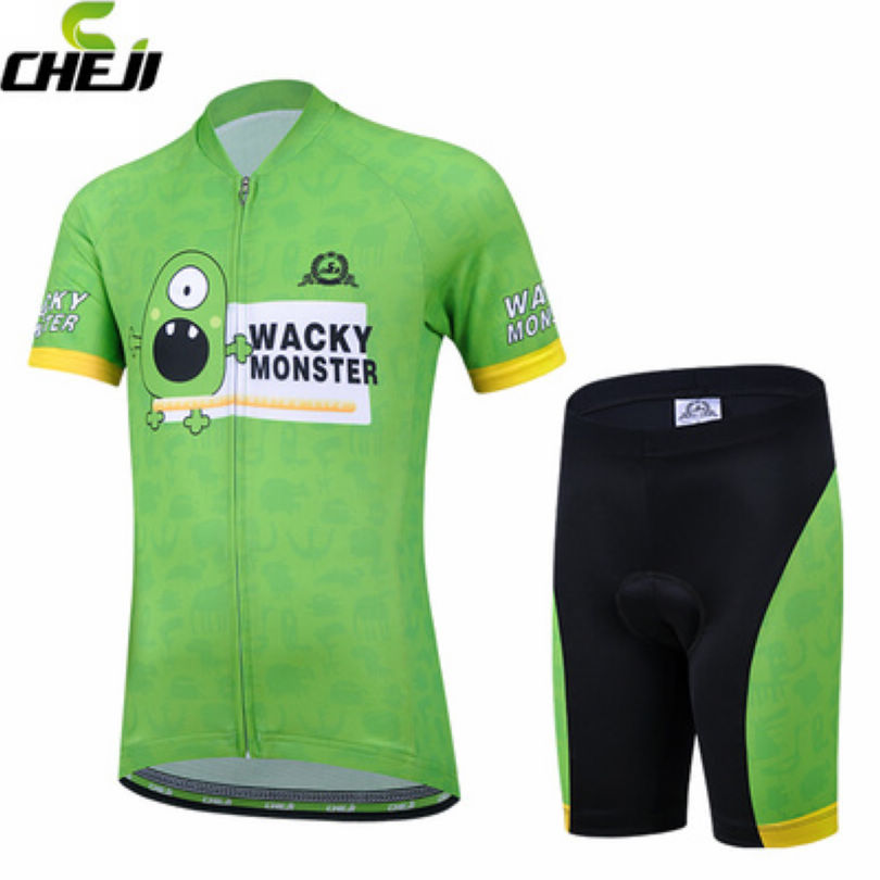 CHEJI Green Team Childrens Riding Ropa Ciclismo Summer Team Bicycle Wear Kits Padded Shorts Cycling Jersey Sets(China (Mainland))