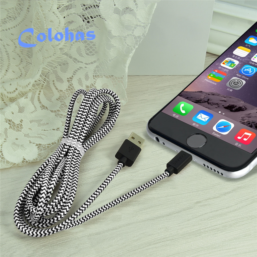 1m 2m 3m Braided Nylon Double-sided 8Pin USB Data Sync Charger Cable iPad 4 5 Air iPhone SE 5C 5S 5G 6 6S Plus - U likee Technology Trading Co.,ltd store