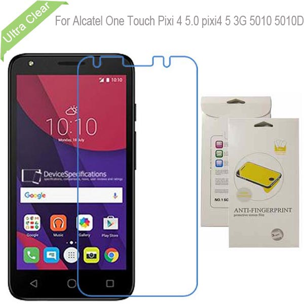Ultra Clear Screen Protector Film Lcd Glossy Protective Guard For Alcatel One Touch Pixi 4 5.0 pixi4 5 3G 5010 5010D(China (Mainland))