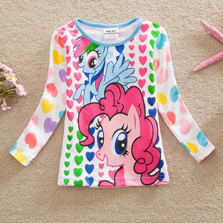 retail neat brand 2015 new kids t-shirt baby girls roupa sleeve cartoon t shirt children print clothing wear top nova LD6633 MIX(China (Mainland))