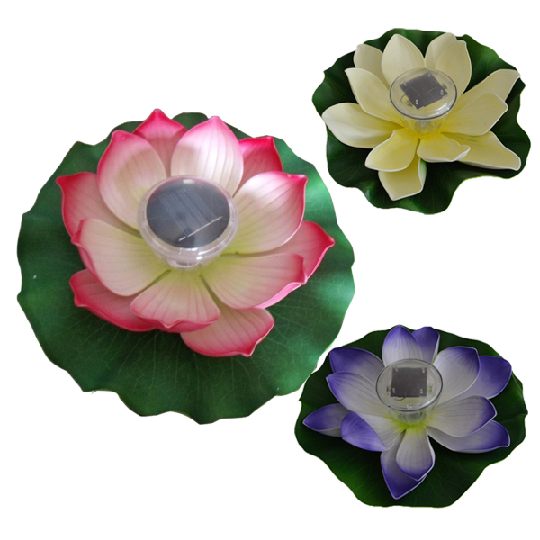Solar Powered LED Multi-Color Pond Garden Pool Floating Lotus Flower Night light Lamp(China (Mainland))