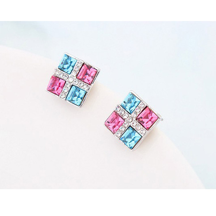 2014 New / mall Hot nickel-free earrings European American fashion square color 200 - Jinghong Jewelry store