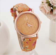 2015 New Fashion ok Women Dress Watches Multicolor flower leather Band Quartz wristwatch Ladies Rhinestone watch