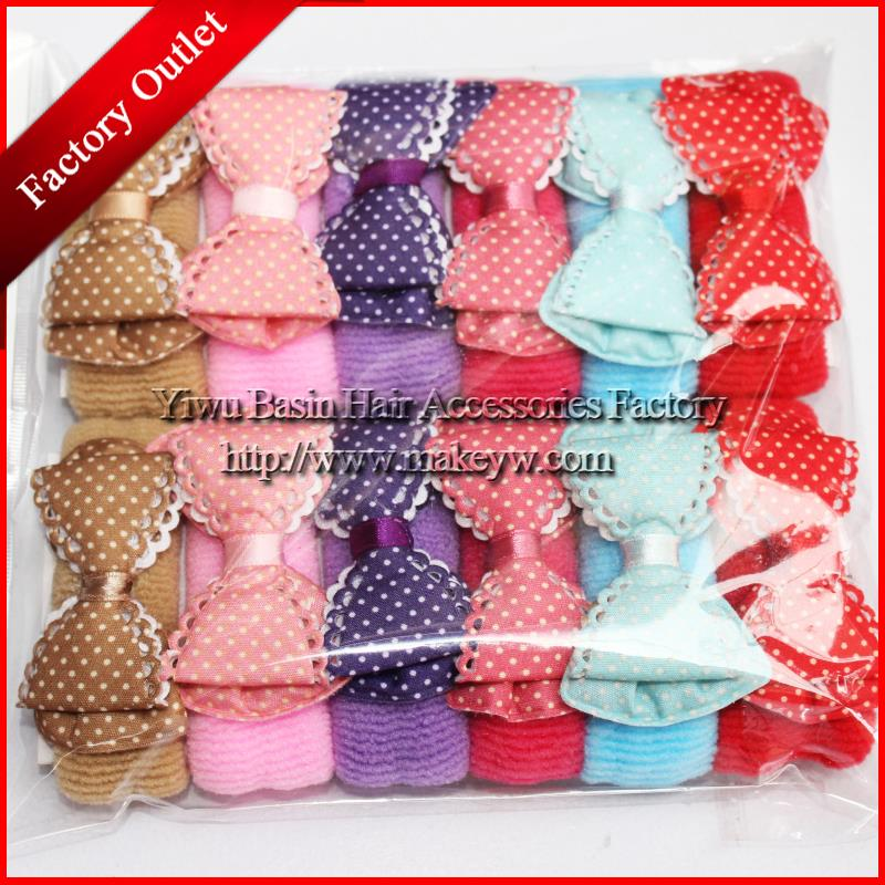 Free shipping 12pcs/lot hair accessories Factory direct sale Yiwu Good quality elastic bands for kids Beautiful double bow tie(China (Mainland))