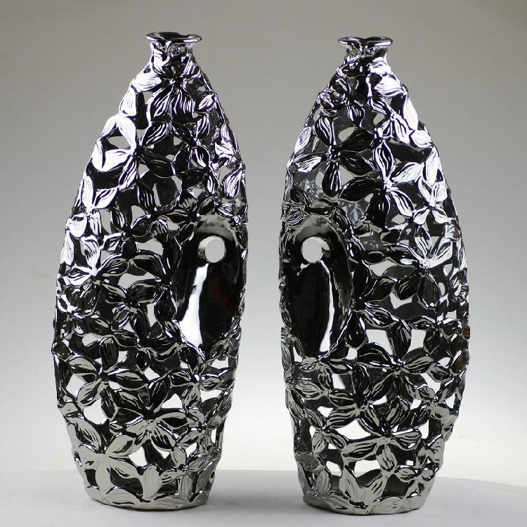Modern Electroplating silver openwork petal ceramic vase home decor accessories TV cabinet model room furnishings(China (Mainland))