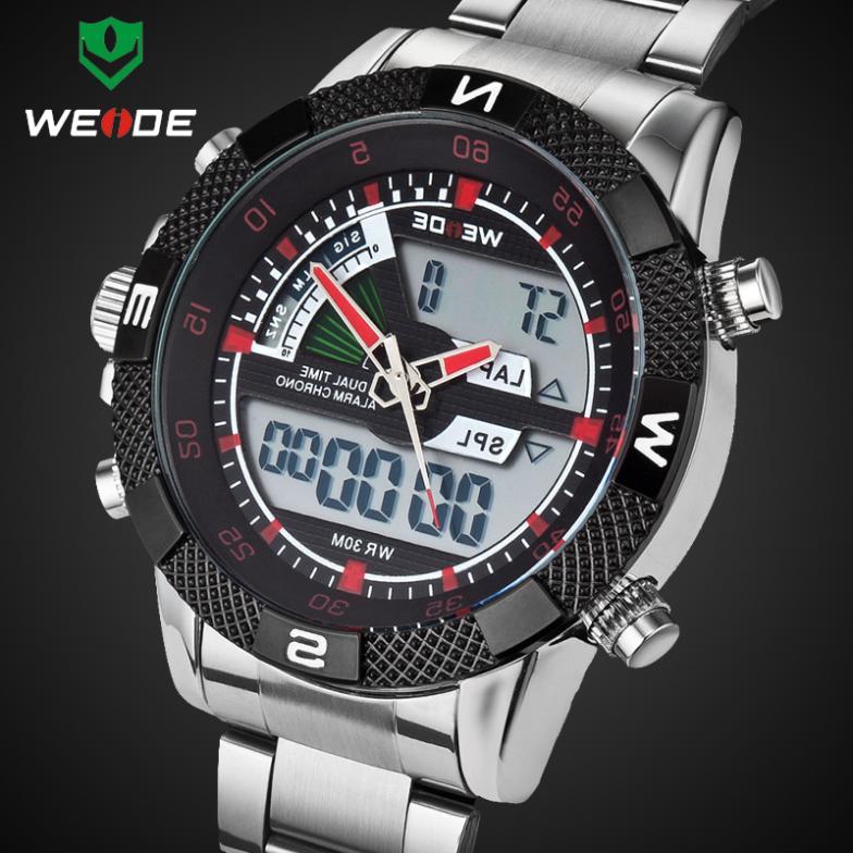 Здесь можно купить  Stainless Steel Wristwatch WEIDE Watches Men LED Luminous Analog Digital Dual Time Display Date Week  3ATM  Часы