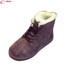Buy siketu Best Gift Drop Fashion Ladies Women Boots Flat Ankle Lace Fur Lined Winter Warm Snow Shoes Dec26 for $10.96 in AliExpress store