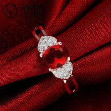 Promotion Crystal Rings Beaded Rings Wedding Rings Trendy Ruby Jewelry Of Silver Plated Women Party Gift