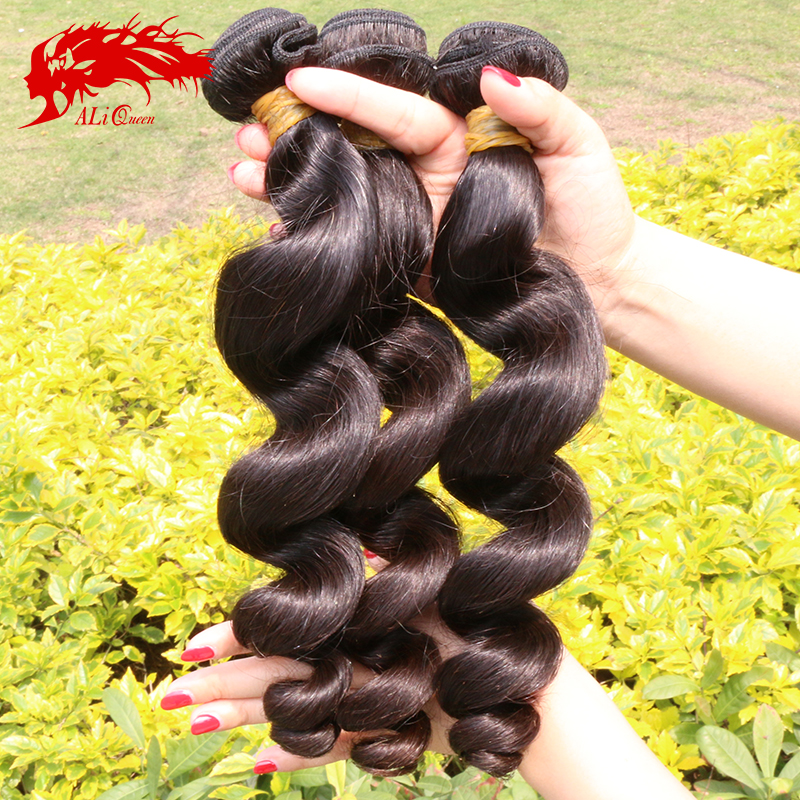 Virgin burmese loose wave 3pcs lot human hair bundles, 6A unprocessed natural black color virgin burmese loose curly hair