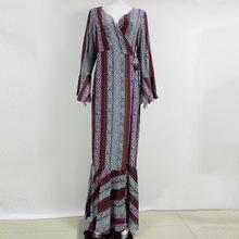 Summer style high split women dress 2016 bohemia beach dress full sleeve v-Neck print loose maxi long beach wear dress(China)