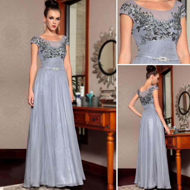 Free Shipping ready to wear beaded DORISQUEEN floor length elegant women dress new arrival grey  formal long evening gowns 30852