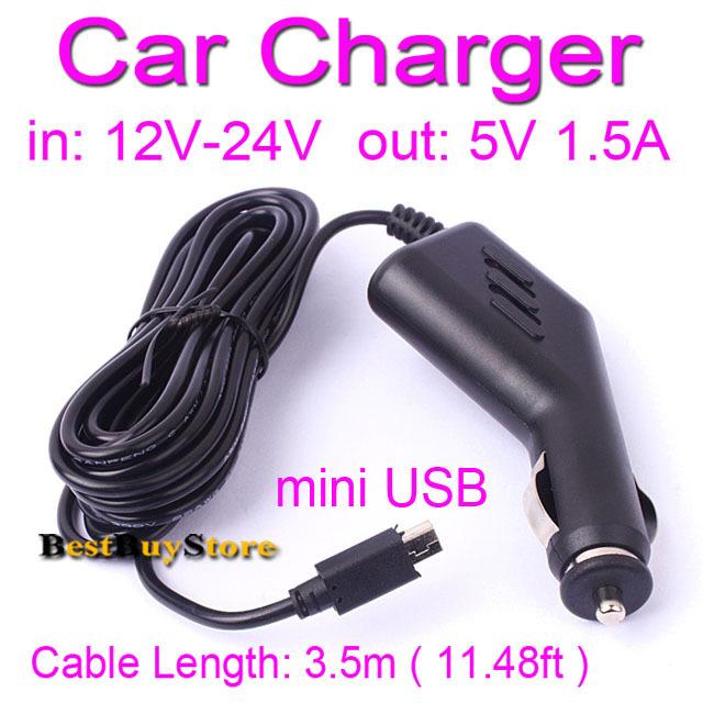 5V 1.5A mini USB Car Charger for DVR Camera - GPS Navigator fit 12V 24V Car & Truck, Cable Length 3.