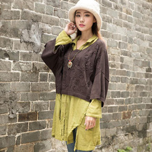2016 Spring New Women Pullovers Japanese Style Crochet Cotton Three Quarter Sleeve Crew Neck Embroidered Loose Short Sweater(China (Mainland))