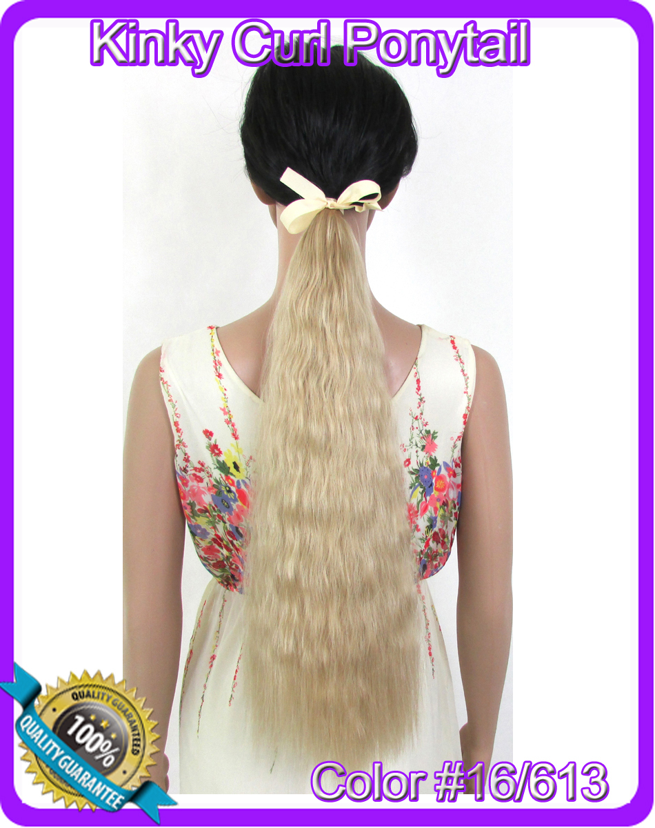 22(55cm) 90g kinky curly ribbon ponytail hairpiece hair pieces clip in hair extensions color #16/613 Mixed Colors<br><br>Aliexpress