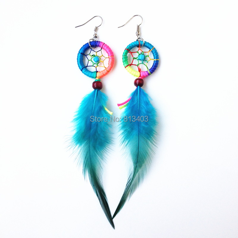 Feather earrings handmade dream catcher indian style feaher dream catcher earring Plentiful colors for option<br><br>Aliexpress