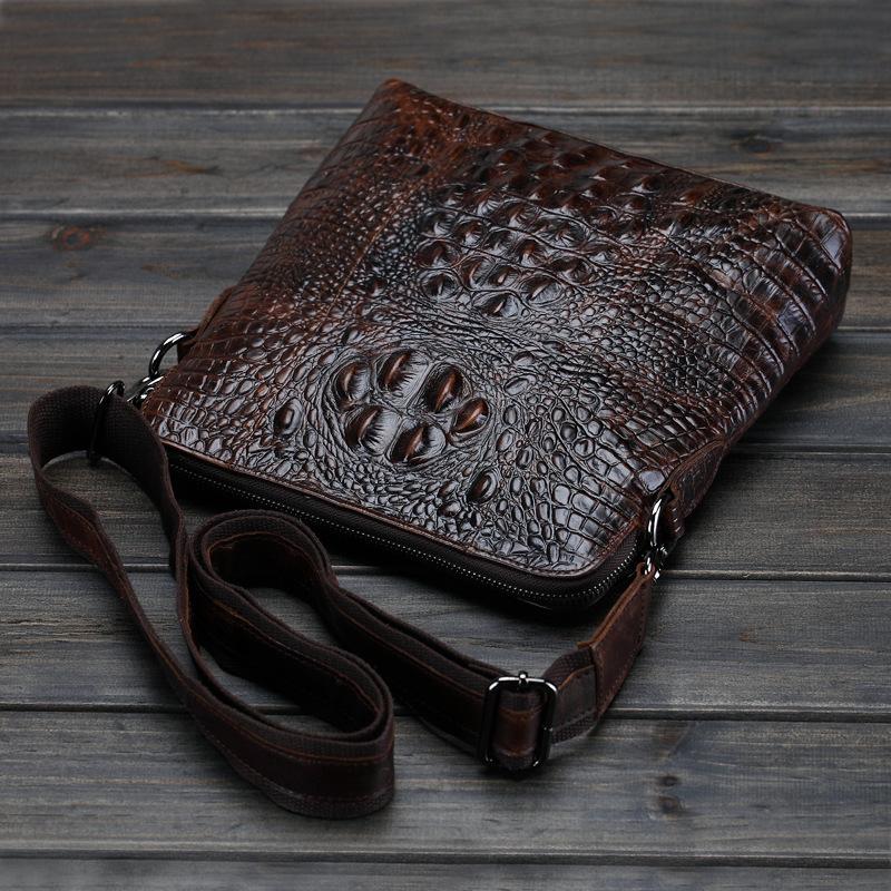 Factory direct new oil wax single shoulder casual fashion crocodile leather man bag Messenger Shoulder bag(China (Mainland))