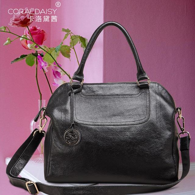 New  2013  Coraldaisy  European&American Style Litchi Stria Handbags Genuine Leather Bags Women Leather Handbags