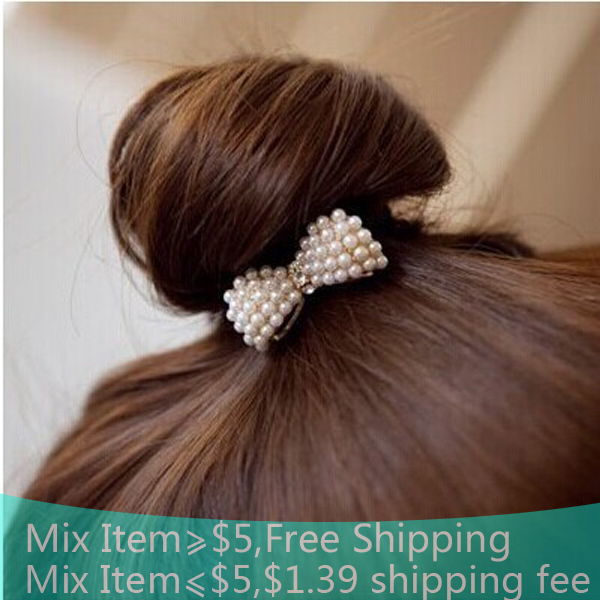 Free shipping fashion accessary Style Balls first good match! Lovely little pearl bow hair bands/joker hair band