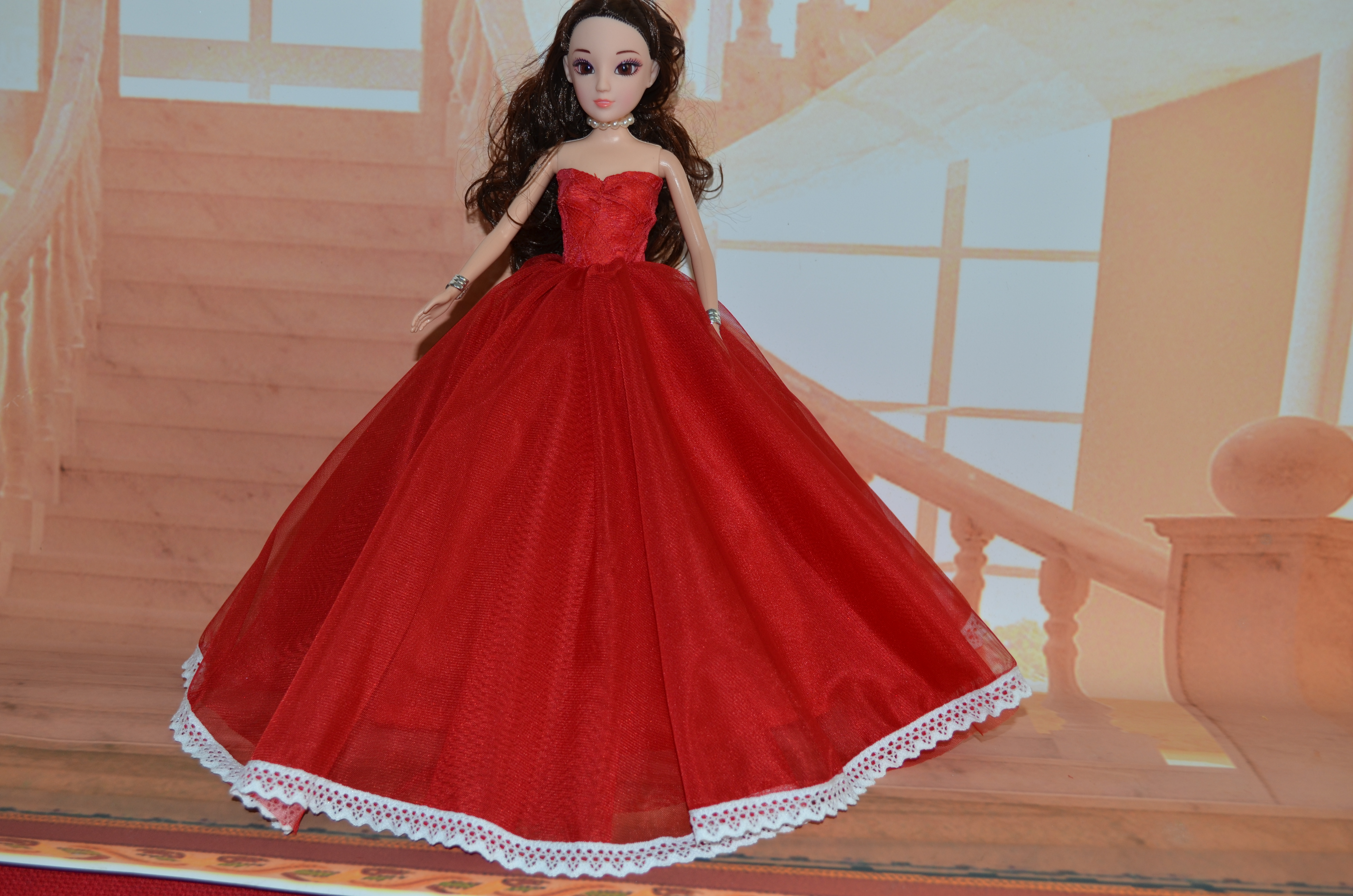 fashion for barbie doll clothes red Wedding gown 30cm doll