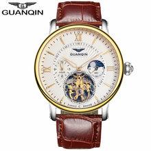 2018 mode GUANQIN hommes montres Top marque de luxe squelette montre hommes Sport en cuir Tourbillon automatique mécanique montre-bracelet(China)