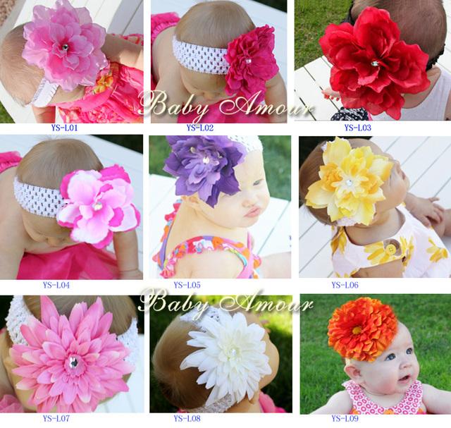 Baby elastic hair headband big diasy flower diamond/rhinestone Christmas crochet hair accessories #2B1999 10 pcs/lot (9 styles)