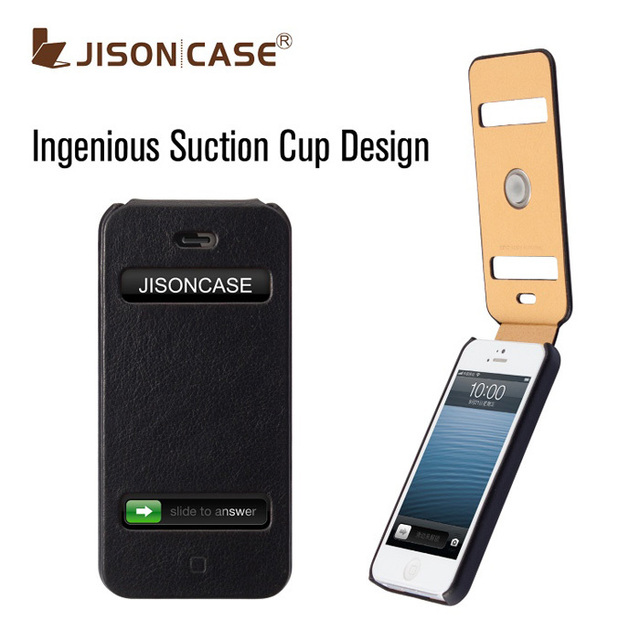 Cool suction cup flip leather case for iPhone5g 5 real leather case accessories for iphone5 case Black&Tan color Free HKPAM ship
