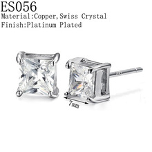 Women's Fashion Platinum Plated Copper AAA+ Top Quality Crystal Stud Square Charms Stud Earrings,Wholesale 10pairs/lot(China (Mainland))