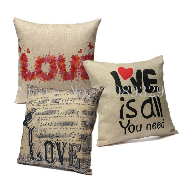 Vintage 42x42cm Cotton Linen Home Decor Love Throw Pillow Cases Square Pillowcases Car Back Cushion Cover Free Shipping(China (Mainland))