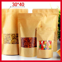 50pcs/lot 30cm*40cm+4cm*140micron Stand Up Zip Lock Paper Bag, Paper Bags For Gifts, Custom Paper Bags(China (Mainland))