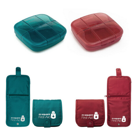 New Portable Pill Organizer Container Travel Drug Box Medicine Splitter First Aid Bag(China (Mainland))