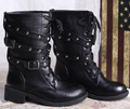 New 2016 Brand Woman Martin boots Round toe High Fashion Black Shoes Women motorcycle boots Plus