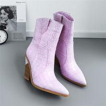 Meotina Marke Frauen Stiefel Winter Mid-kalb Stiefel Seltsame Stil High Heel Western Stiefel Spitz Schuhe Damen Herbst größe 33-46(China)