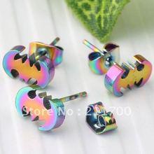 Free shipping 10pcs Colorful Steel Bat Men's Cool Ear Stud Earring(China (Mainland))