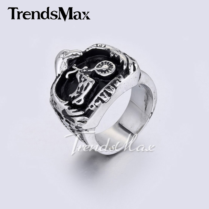 Cool Punk Mens Boys Black Silver Tone Eagle Embracing Motorcycle Ring 316L Stainless Steel Ring HR267(Hong Kong)