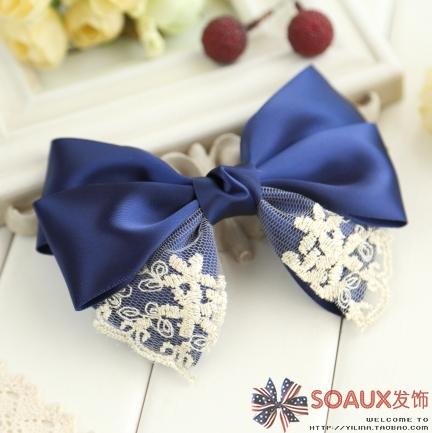 Handmade hairpin clip preppy style lace bow hair accessory hair maker hair pin blue hair accessory 1173(China (Mainland))