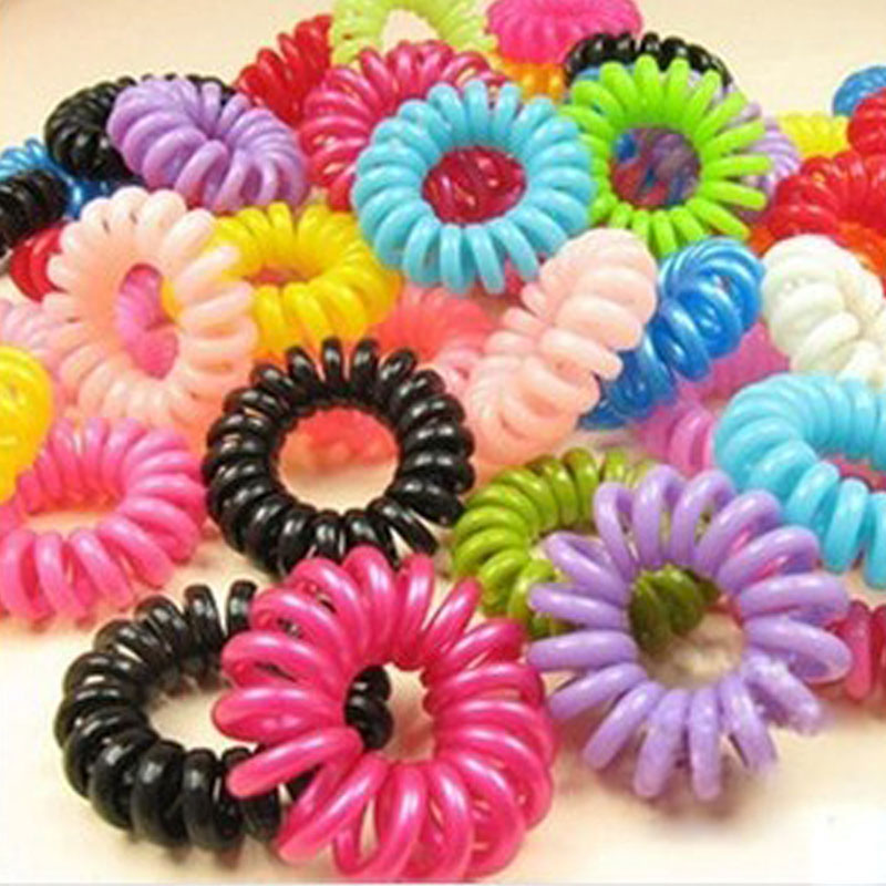 Wholesale 30pcs Mulit-color Telephone Wire Cord Girl Elastic Head Tie Hair Rope Hair Accessories Hair Styling Tools(China (Mainland))