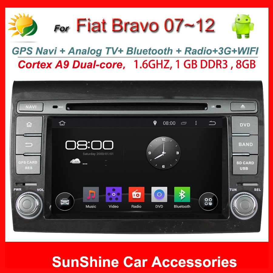 2 din 7 inch touch screen dvd player for Fiat Bravo car radio gps navigation TV 3G WIFI OBD2 AUX Bluetooth in dash Car Stereo(China (Mainland))