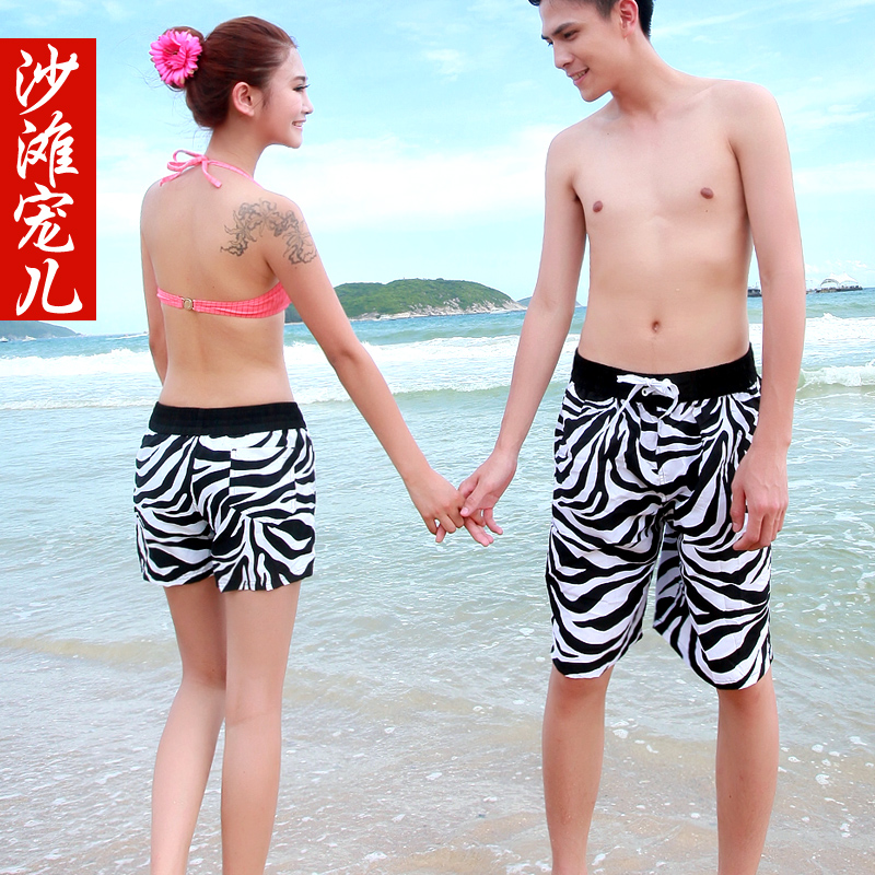 Summer zebra print male lovers beach pants casual pants knee-length pants capris quick-drying pants(China (Mainland))