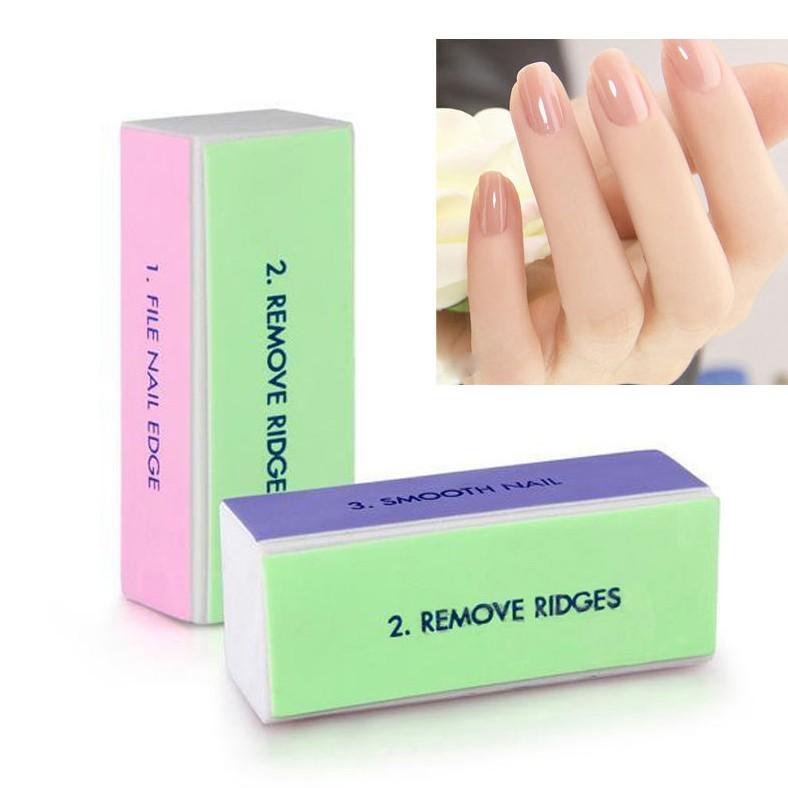 2 Pcs Professional Colorido 4 Way Lixa de Unhas Buffer Do Bloco de Polimento Lixar Nail Art Manicure Ferramentas Da Arte do Prego